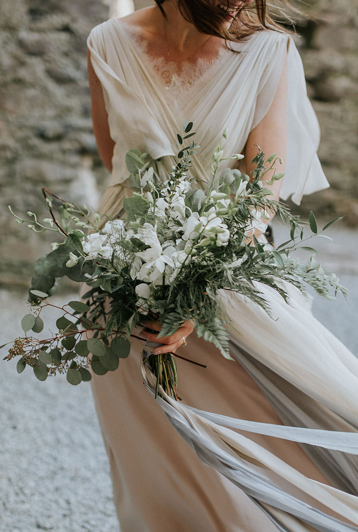 gorgeous bridal bouquet of greenery and white blooms