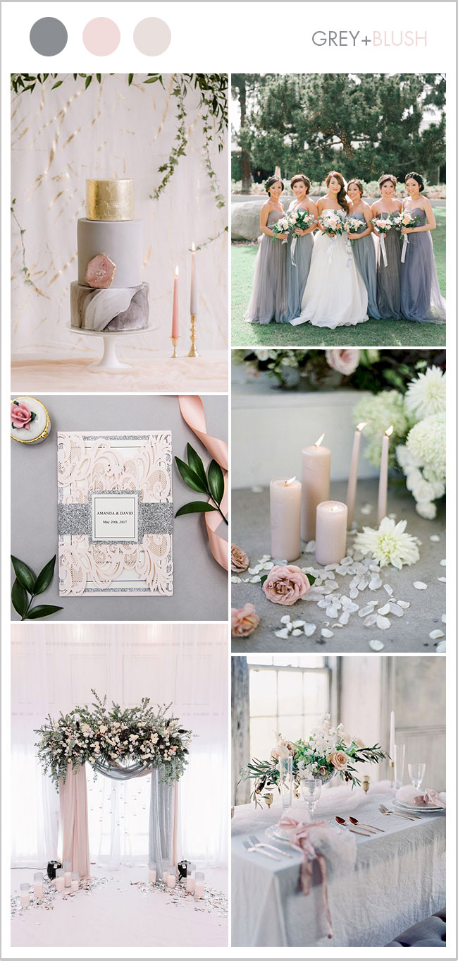 light pink and grey classic wedding color inspiration with matching invites