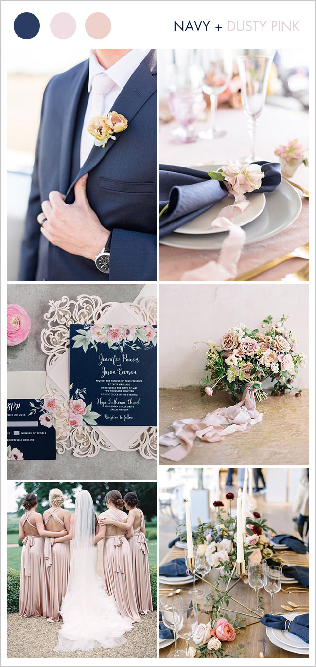 navy and light dusty pink classic wedding color ideas