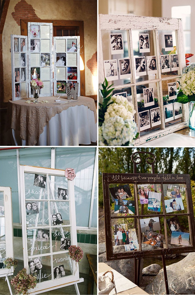 old window photo display wedding decoration ideas