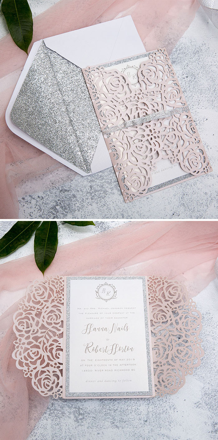 pink and silver rose laser cut glittery wedding invitations with glitter ribbon