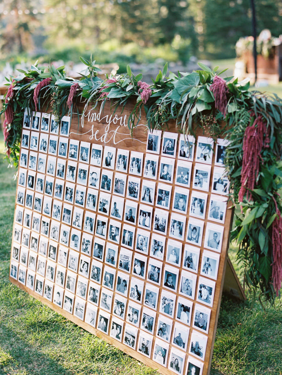 polaroid photo wall escort cards display wedding ideas