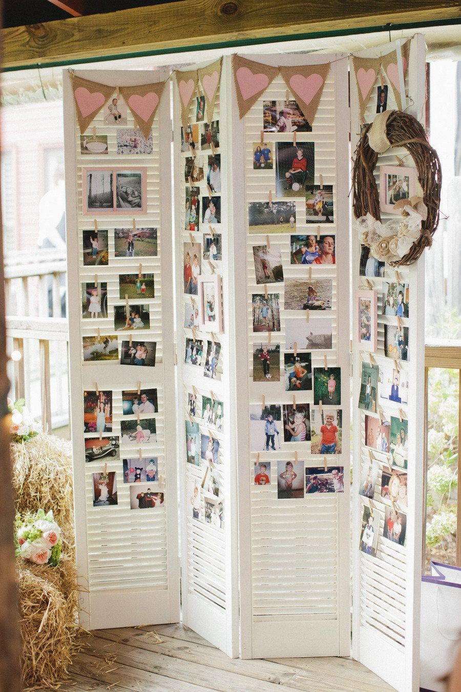 popular photo display table display ideas for wedding reception