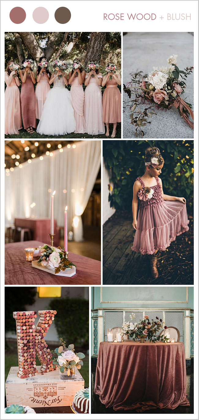 rose wood pink and blush fall wedding color ideas