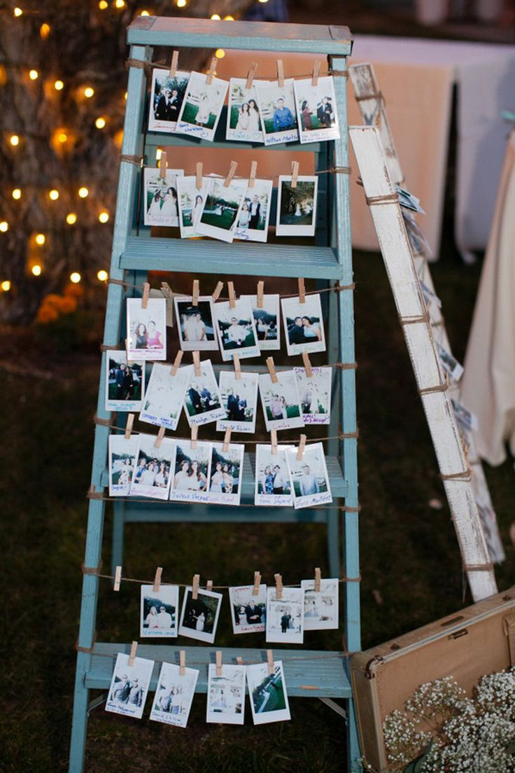 rustic and vintage wedding photo display ideas