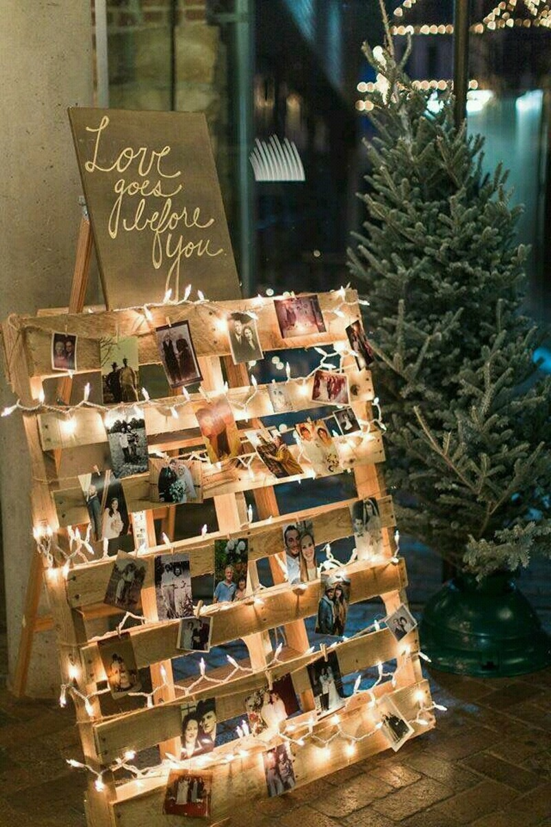 rustic wood pallet wedding photo display ideas with romantic string lights