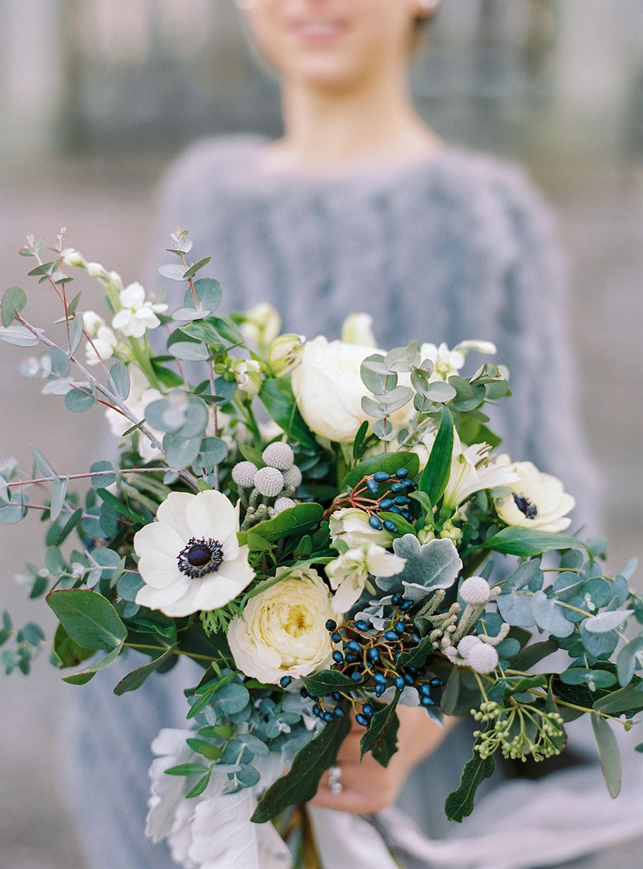 slate and white eucalyptus winter wedding bouquets