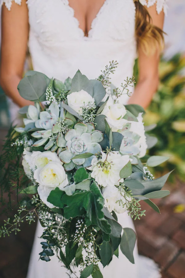 stunning cascading white and green foilage bridal bouquets
