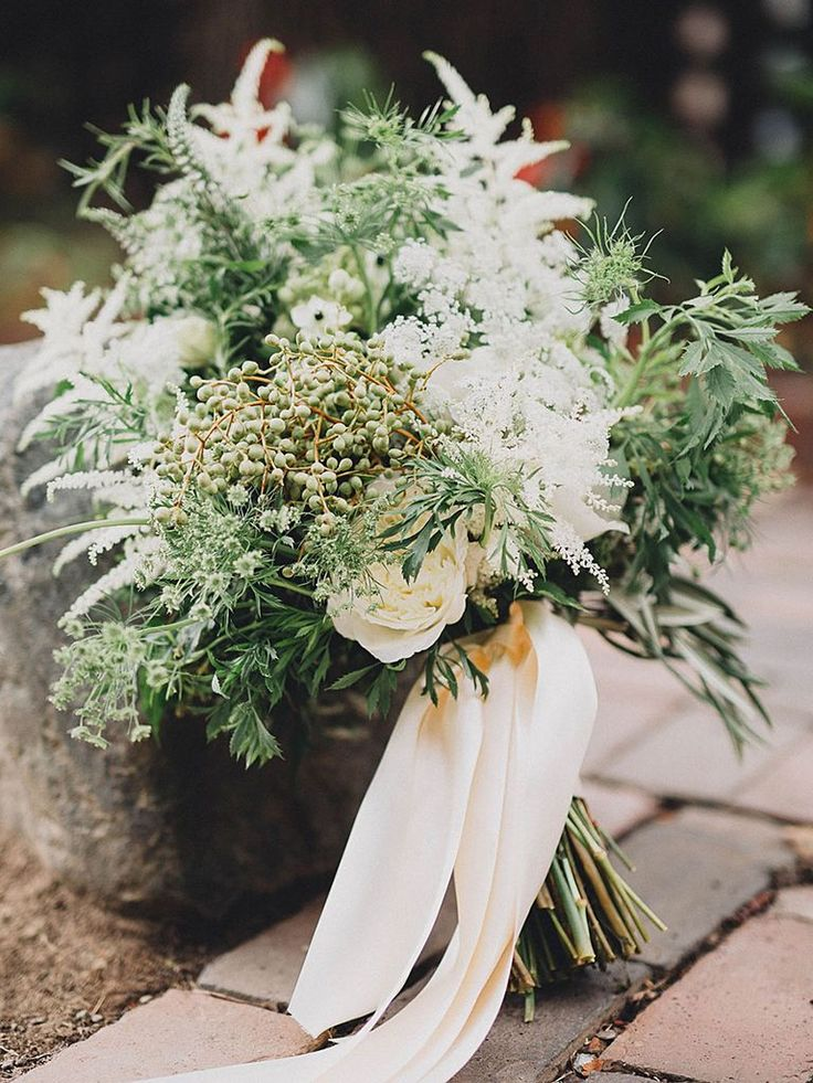 stunning greenery and wild flower wedding bouquets