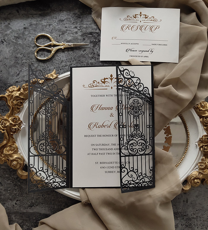 stylish vintage gate door black laser cut weding invitation
