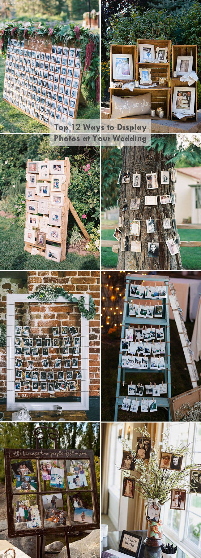 top 12 creative diy photo display wedding decoration ideas