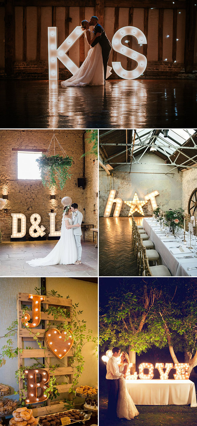 Giant letter lights ideas for Industrial weddings