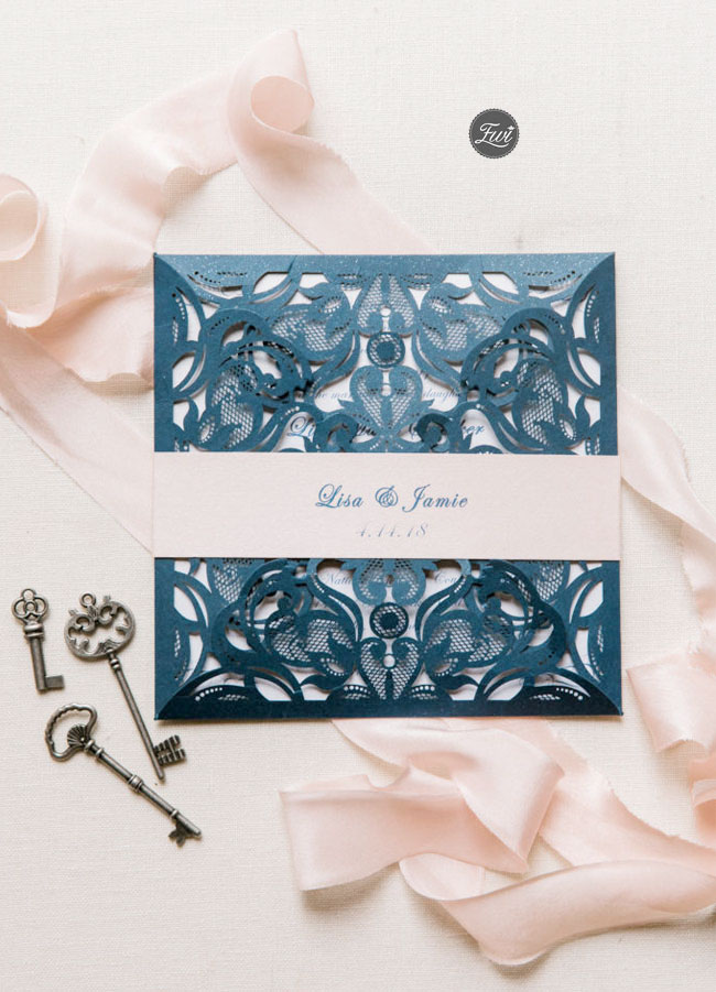 Gorgeous Navy Blue and Blush Pink Laser Cut Wedding Invitation EWWS118