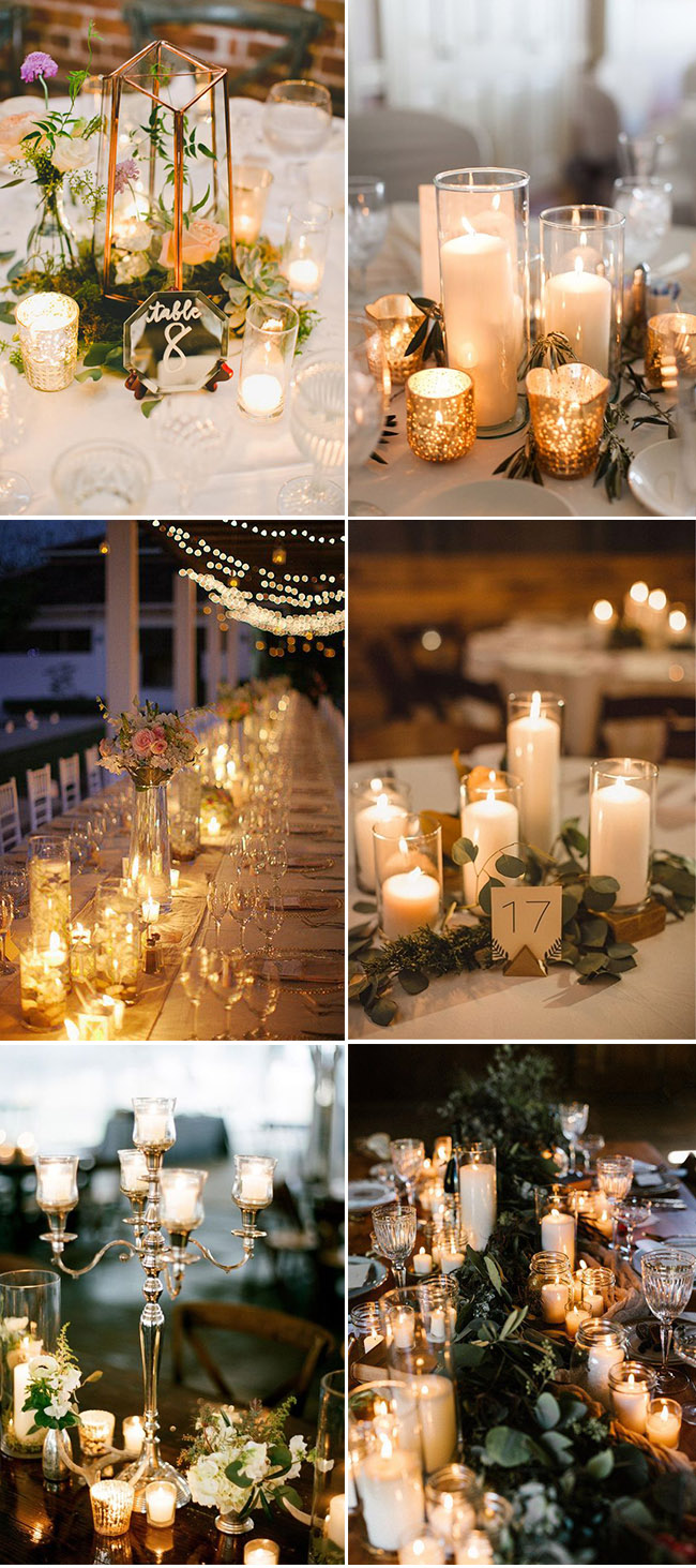 Gorgeous wedding centerpieces ideas with roamtic candle lights