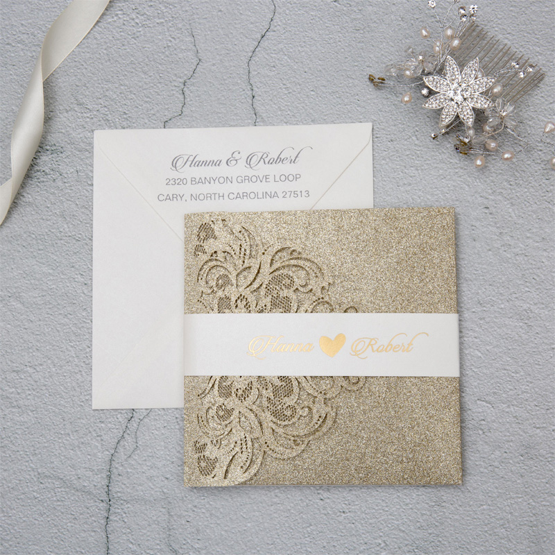 champagne gold glitter laser cut wedding invite with belly band