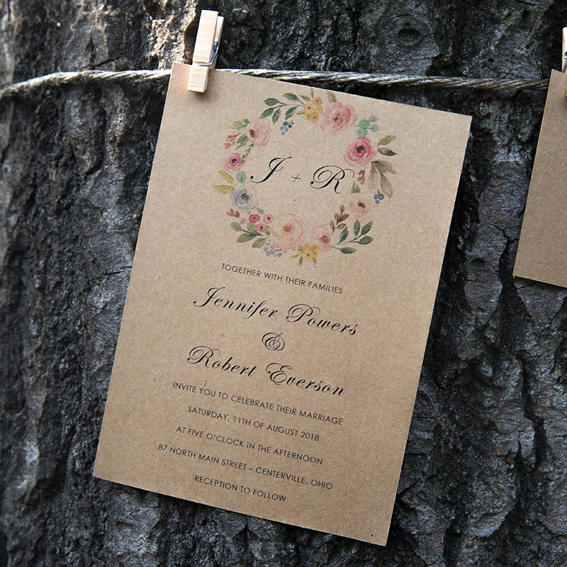 affordable rustic floral wreath kraft wedding invitation