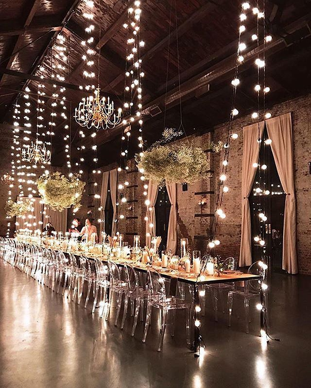 amazing wedding reception ideas with string lights decoration
