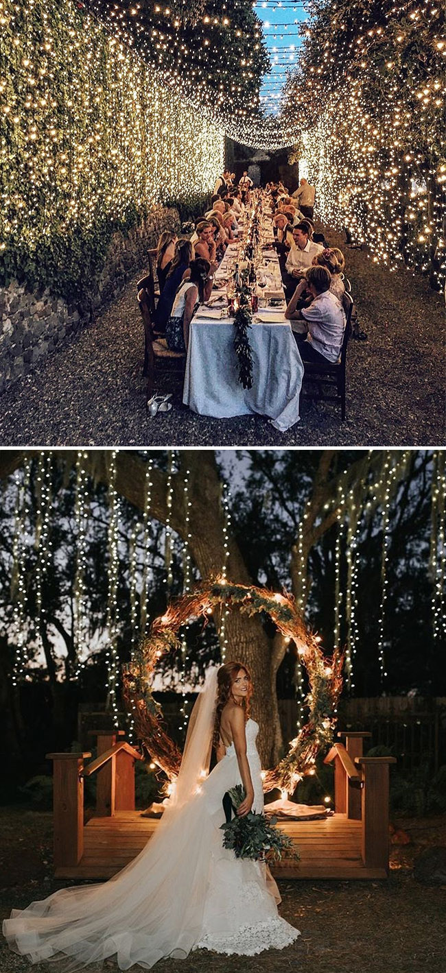 awsome wedding decoration ideas with string lights