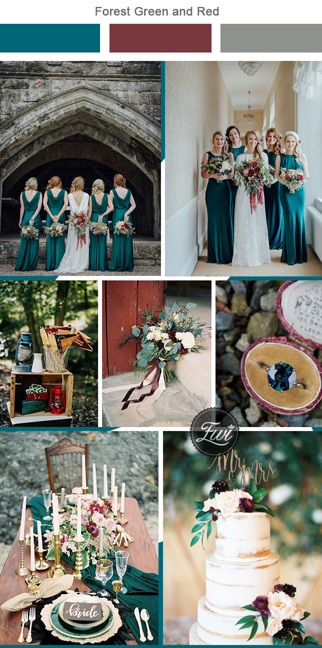 beutiful forest green and red wedding color palettes