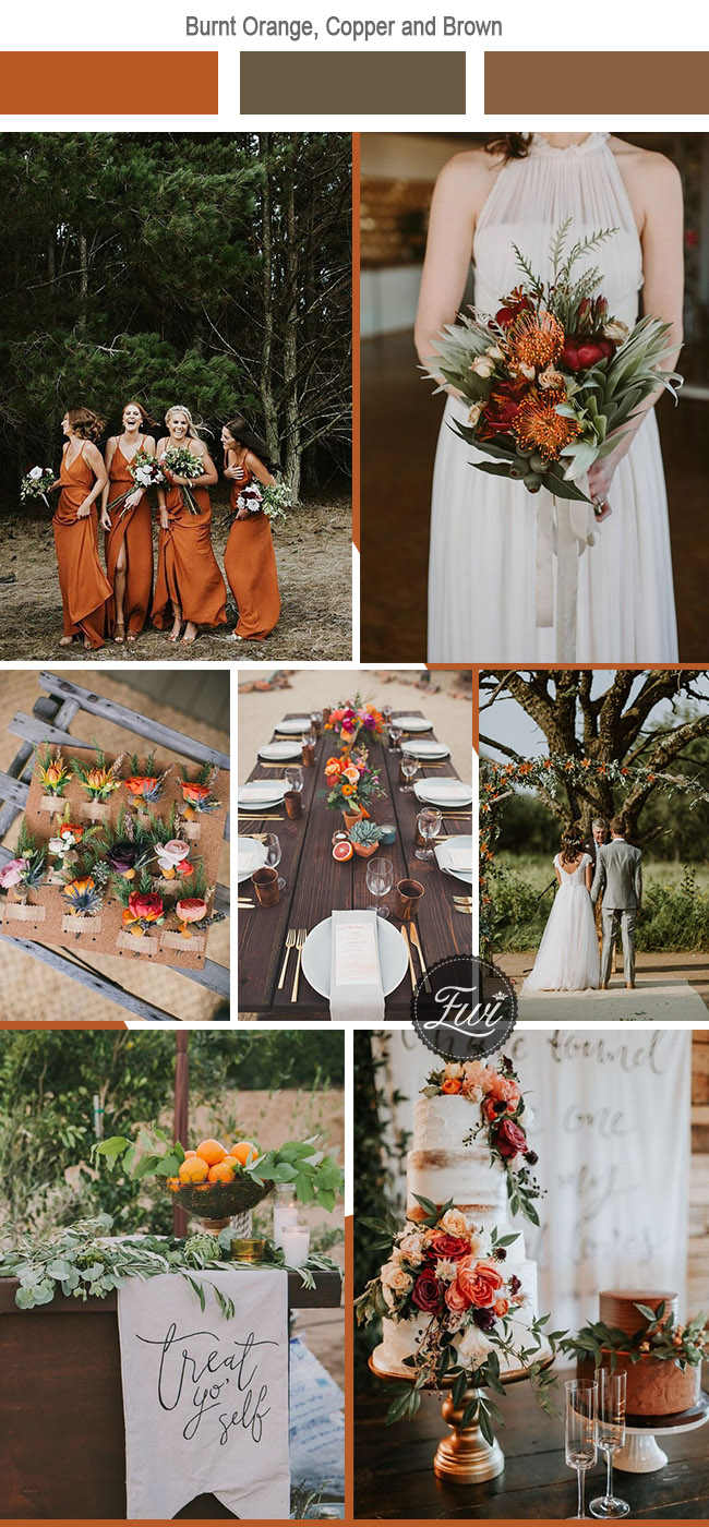 burnt orange and copper bohemian fall wedding inspiration
