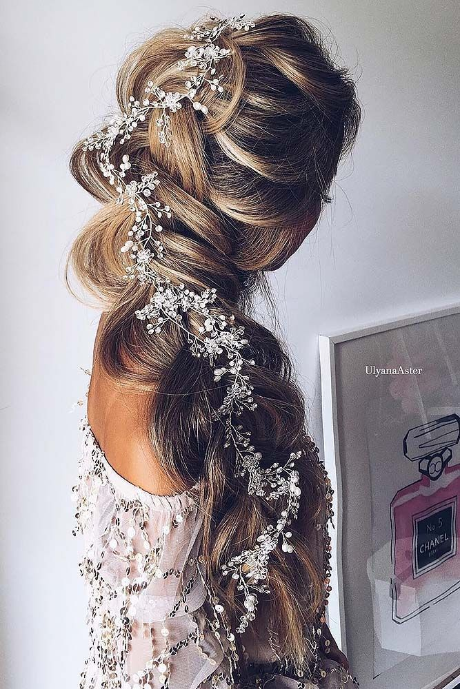 chic braided wedding hairstyles for long hair brides.