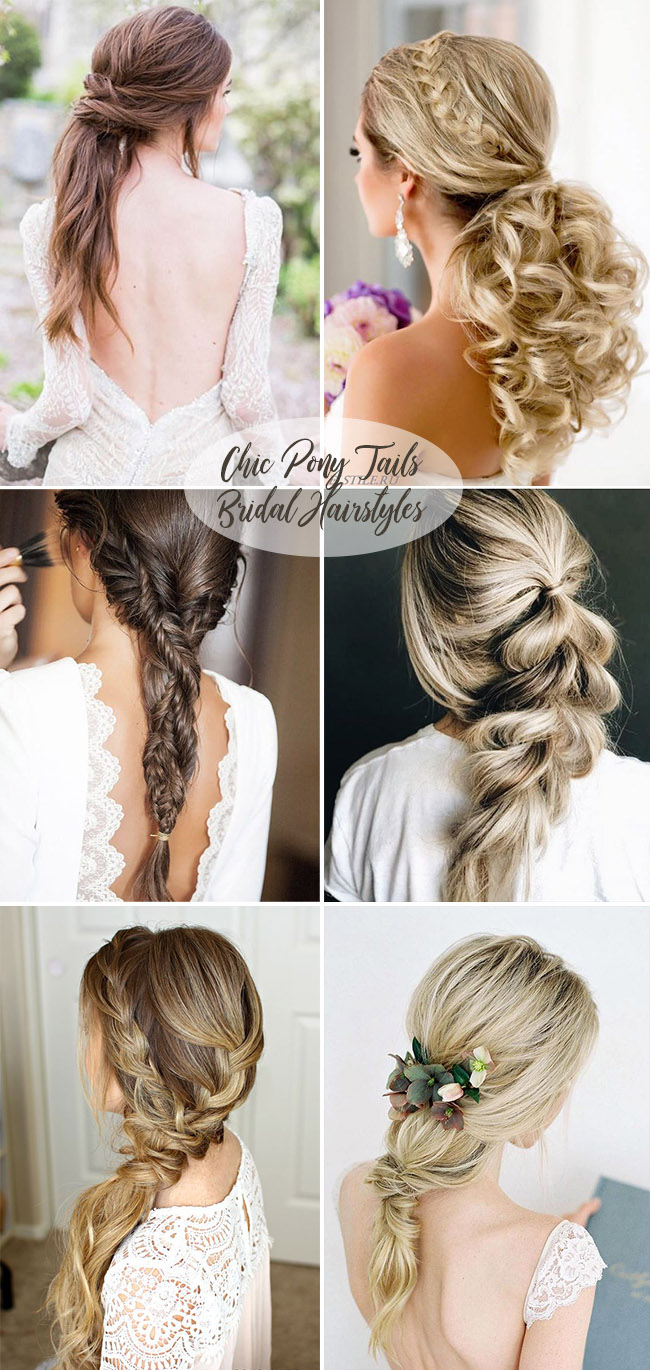 chic ponytail bridal hairstyles wedding ideas