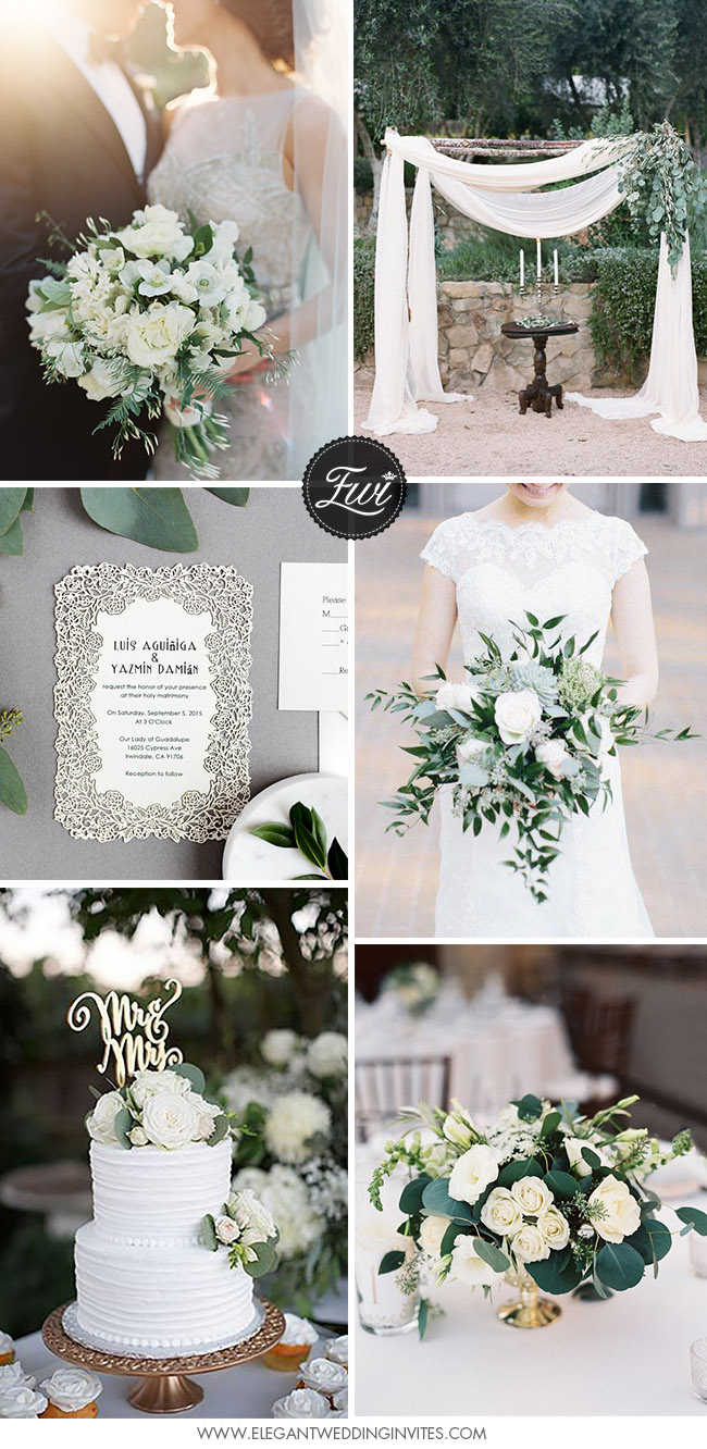 classic and elegant white and greenery garden wedding color ideas