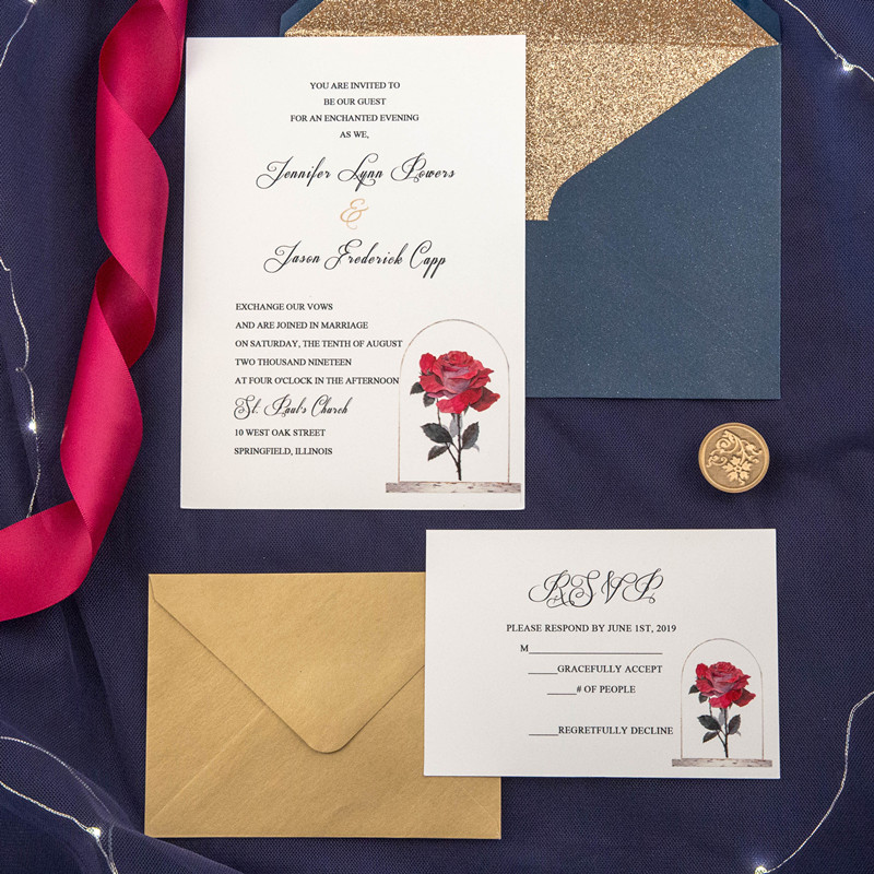 elegant uv printed rose wedding invitation card