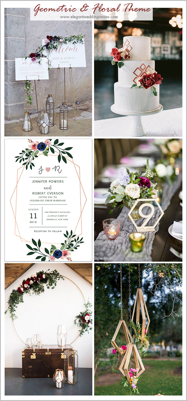 geometric and floral modern vintage theme wedding ideas