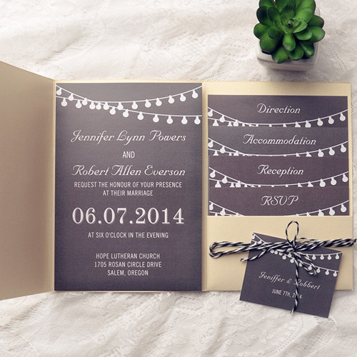 Golden color pocket chalkboard string lights wedding invitation