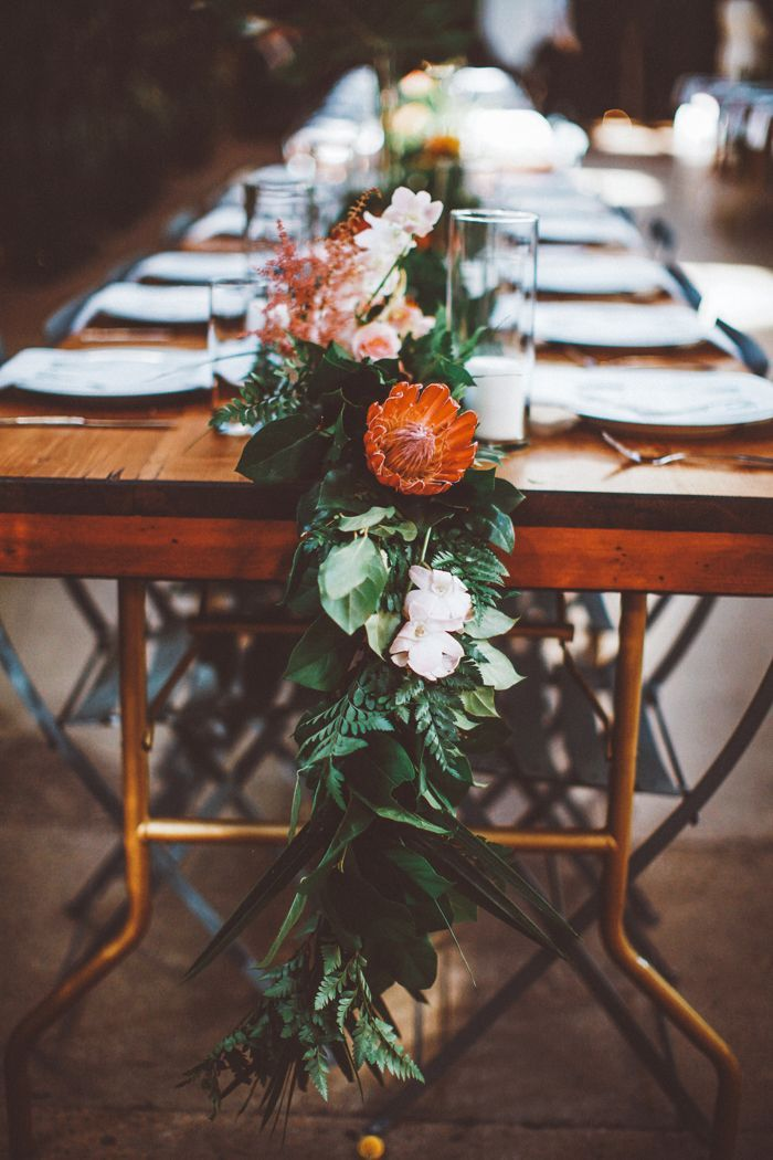 green and floral garland wedding table ideas