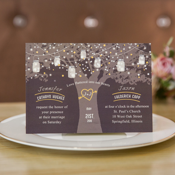 foil stamped love tree wedding invitation with stars