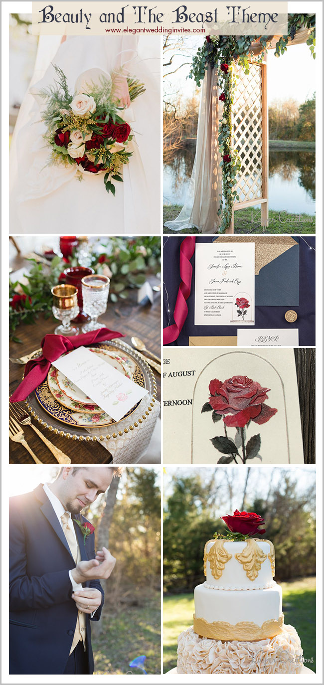 magical beauty and beast wedding color palette