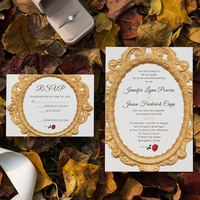 enchanted mirror beauty and the beast fairy tale wedding invitation
