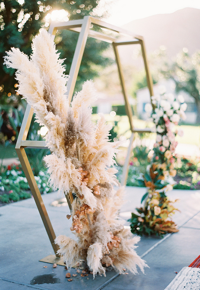 pampas wedding ceremony arbor ideas