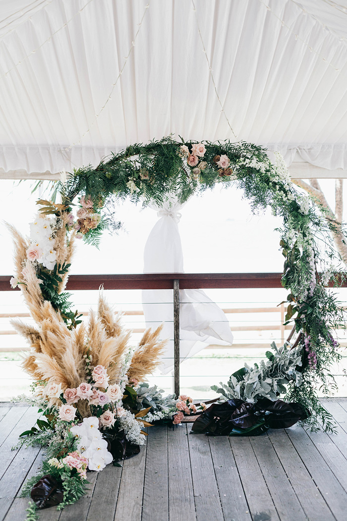 pretty pampas wedding floral wreath wedding backdrop