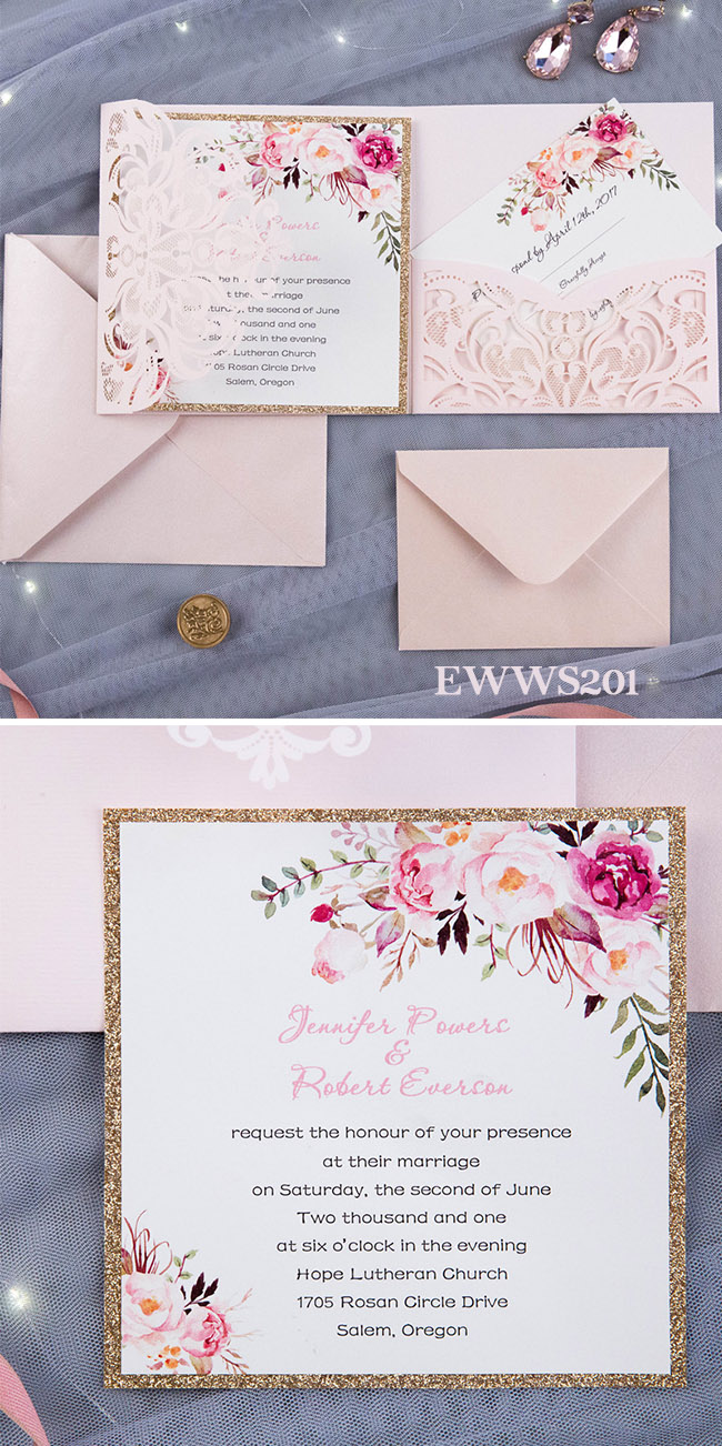 romantic blush pink spring flower glittery laser cut pocket wedding invitation kits