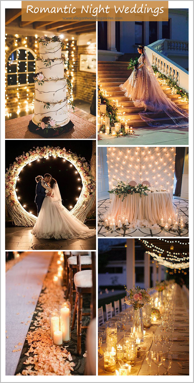 romantic evening wedding ideas with candles and string lights