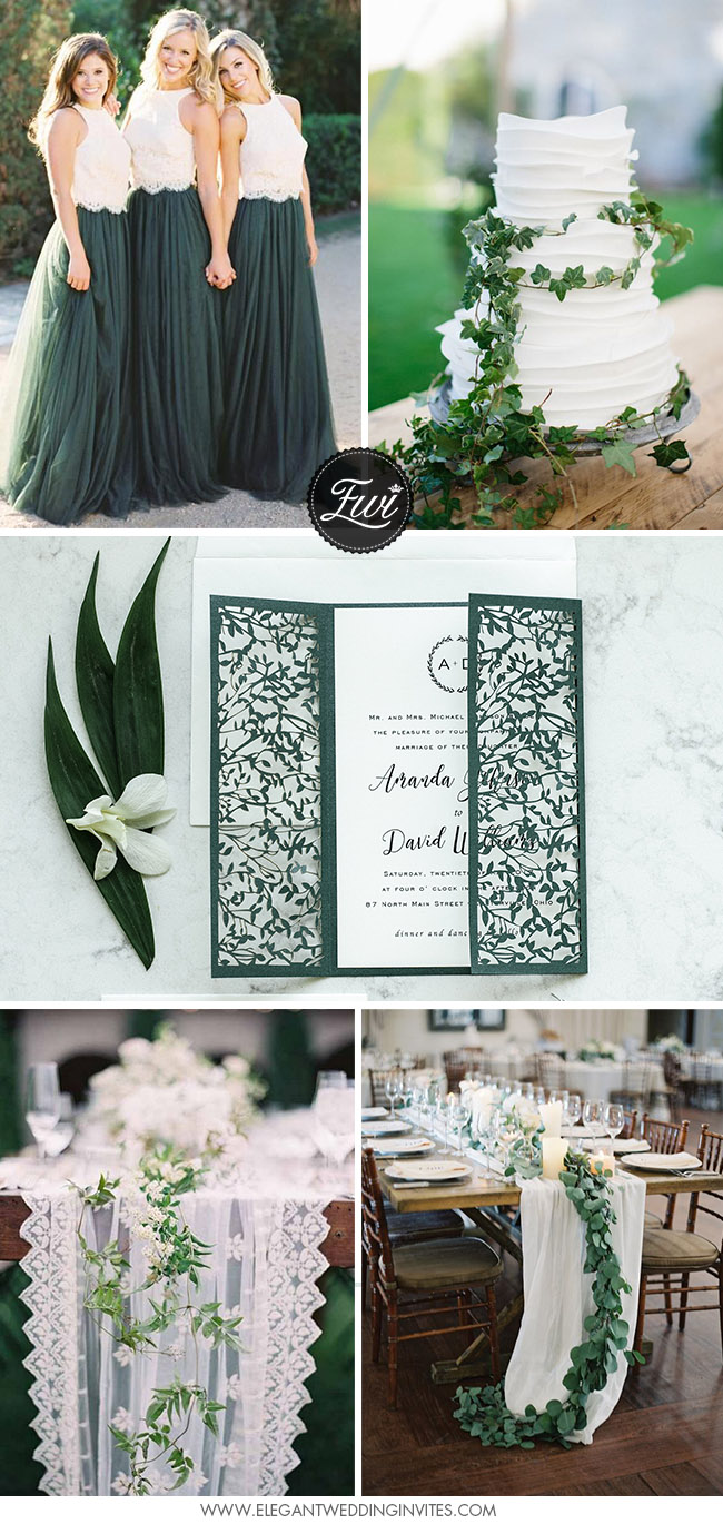 romantic green and white wedding color inspiration
