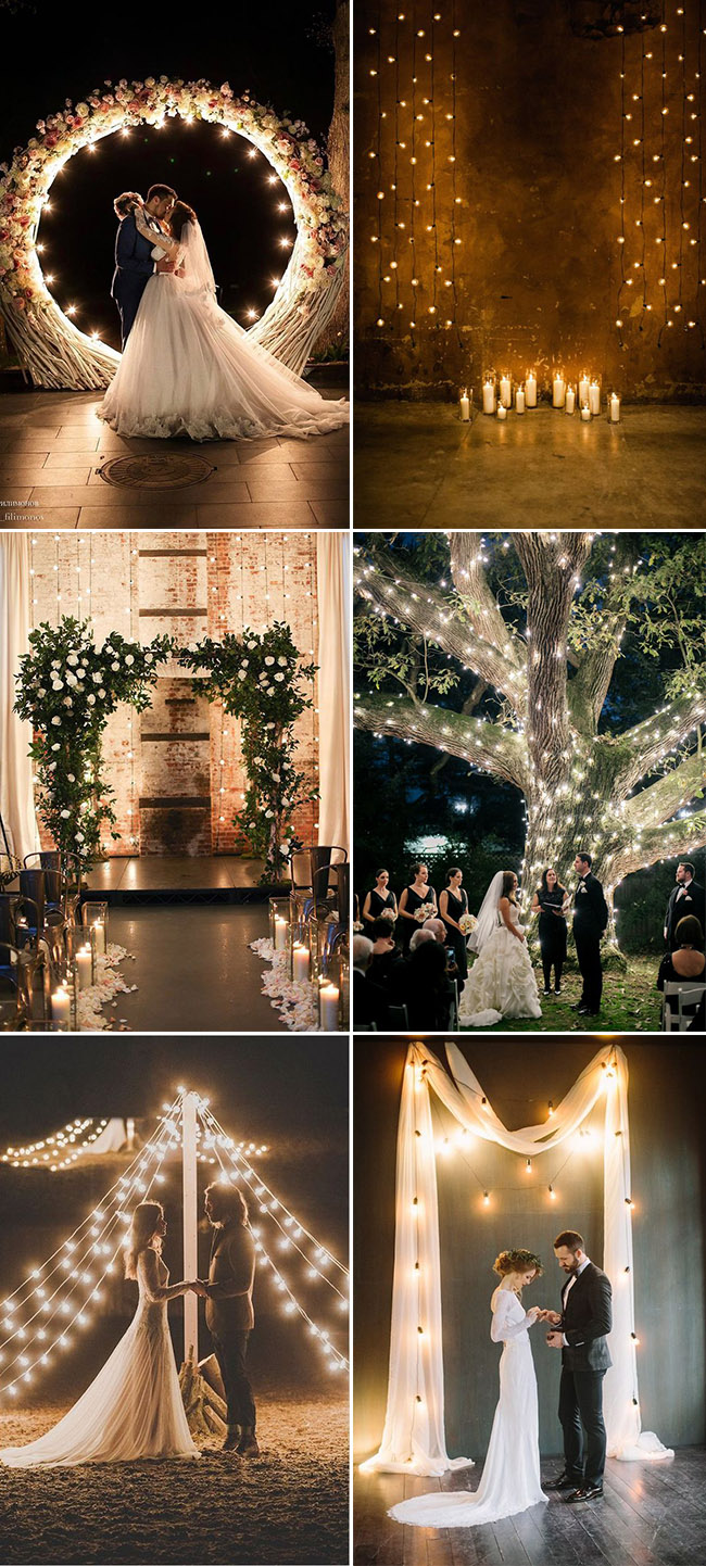 romantic lighted wedding ceremony backdrop ideas