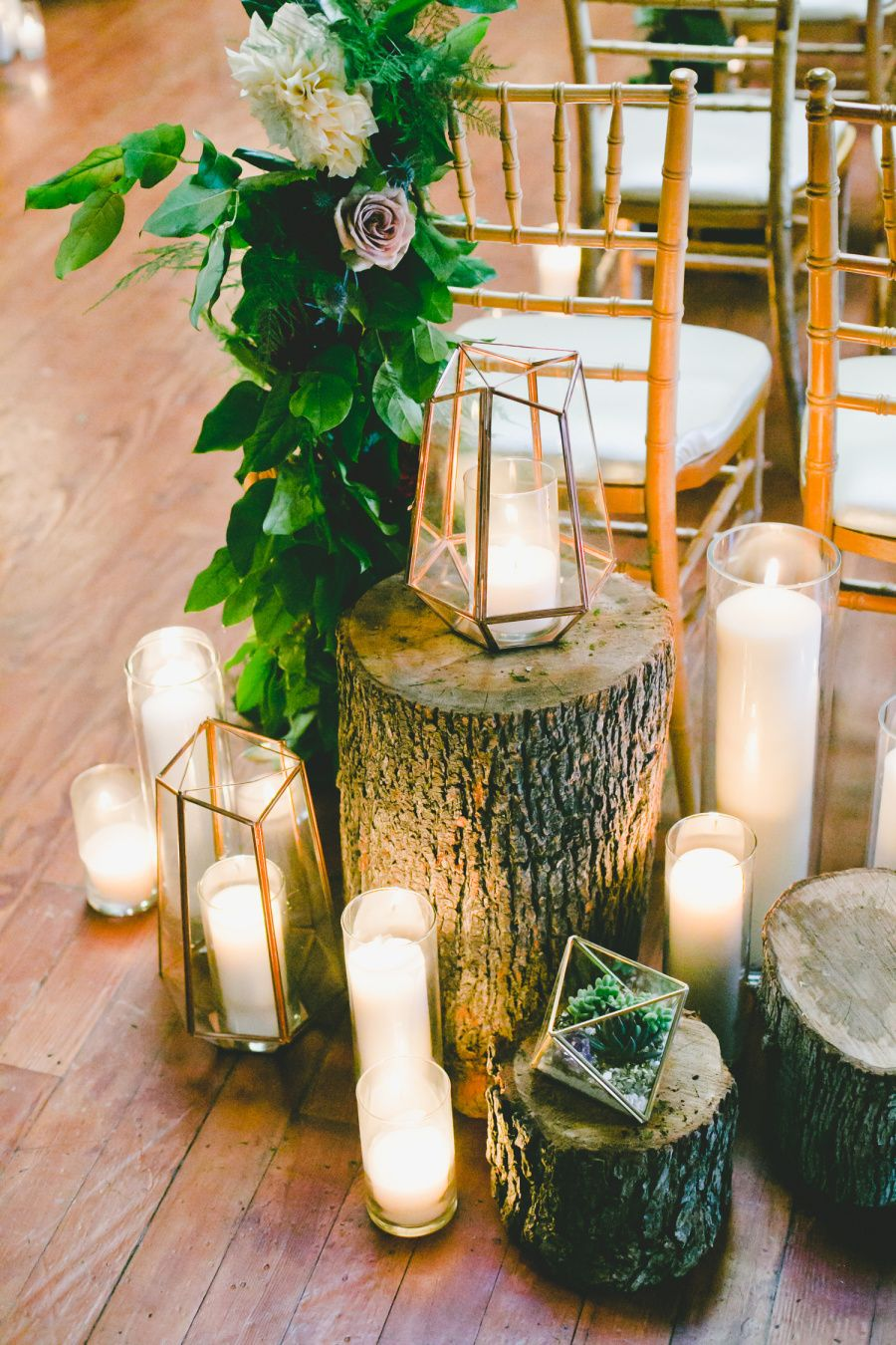 romantic wedding aisle decoration ideas with geo candle holders