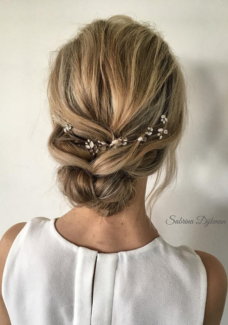 simple loose low updo wedding hairstyles ideas