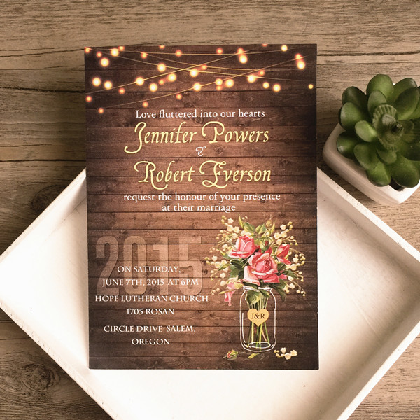 spring flower mason jar string lights rustic invitations