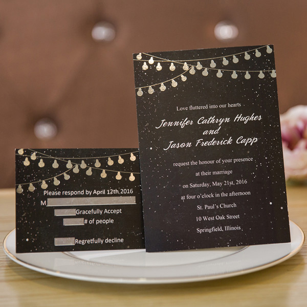 starry sky wedding invitations with silver foil string lights