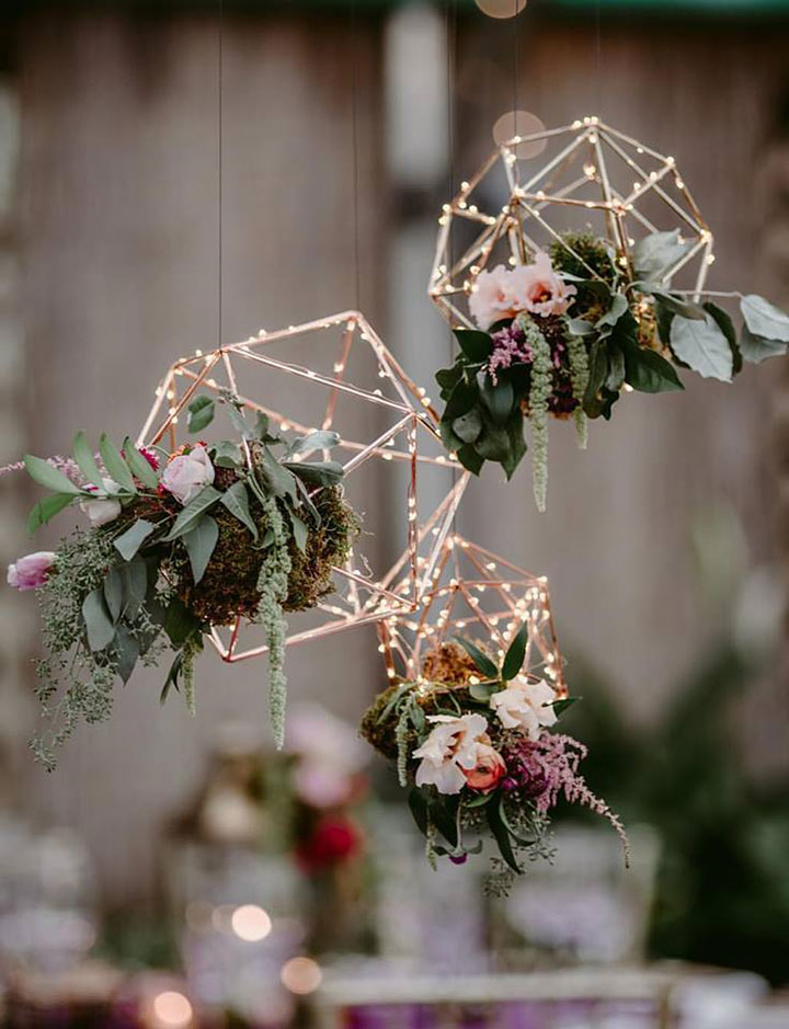 suspended floral geometric floral wedding decoration