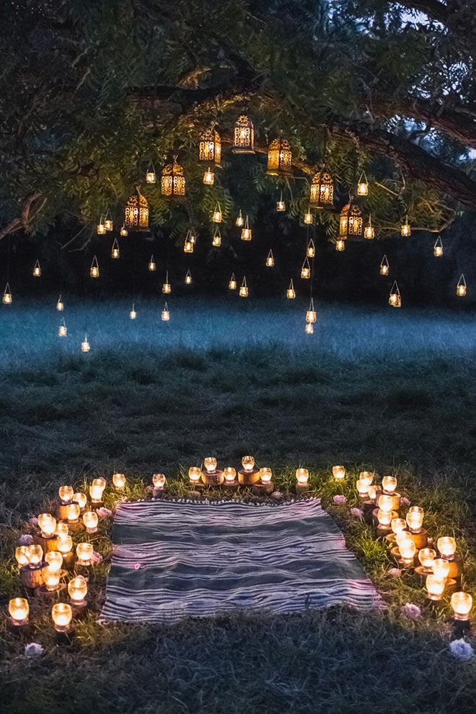 whimsical and lighted woodland wedding ceremony decoration ideas