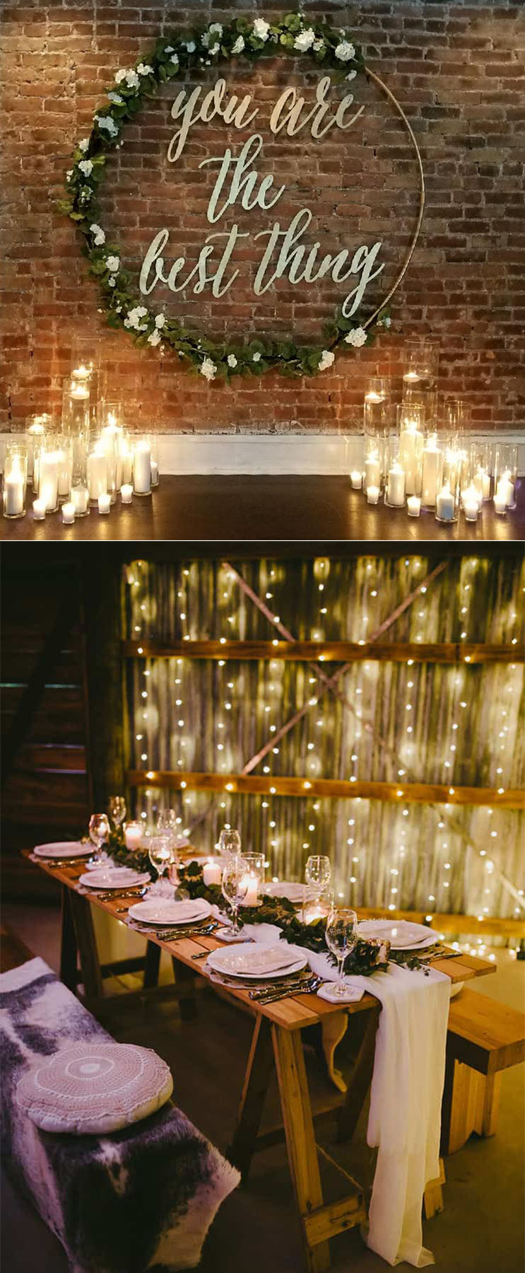 white and grenery evening wedding ideas under romantic lights