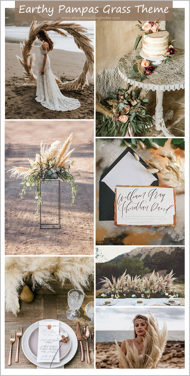 wild pampas grass earthy tone boho rustic wedding theme ideas