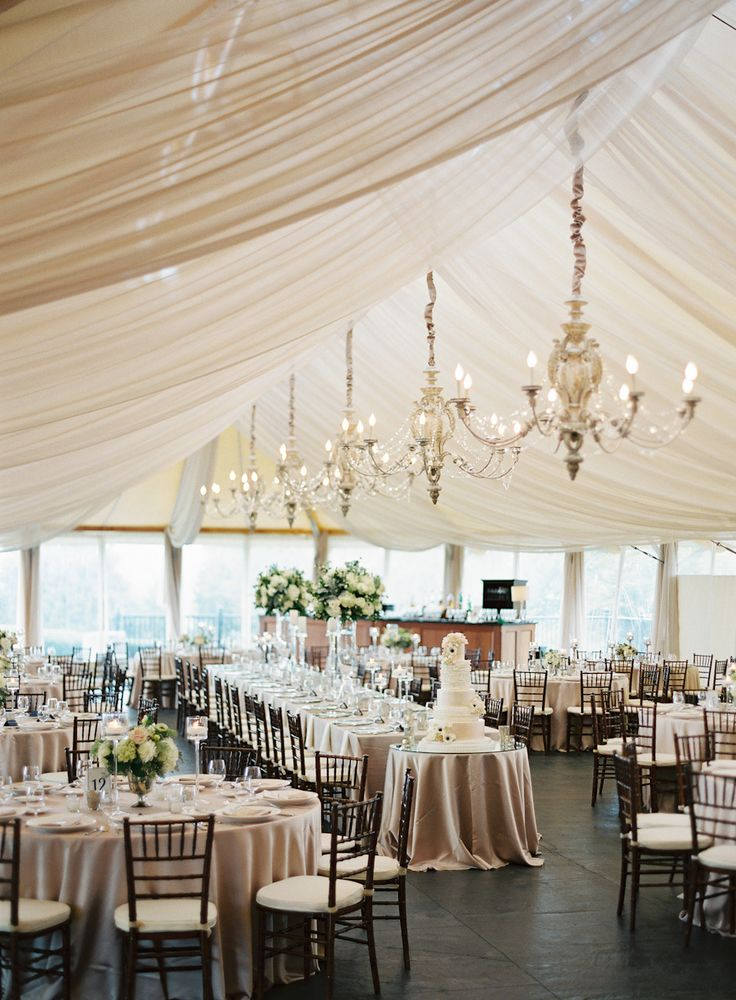Tented Elegant Champagne Wedding Reception Ideas