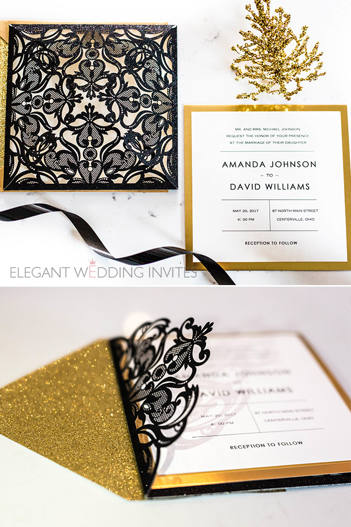 black and shiny gold laser cut wedding invitations